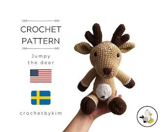 CROCHET PATTERN - Jumpy the deer - amigurumi deer - reindeer - woodland - forest animal - the deer jumpy - christmas - crochetbykim