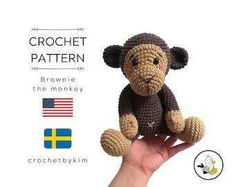 CROCHET PATTERN - Brownie the monkey - amigurumi monkey - chimpanzee - jocko - safari animals - jungle - zoo - monkey toy - diy - pdf