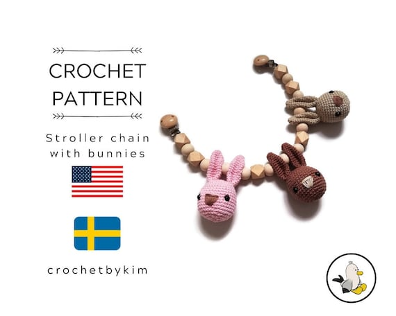 AMIGURUMI CROCHET PATTERN • stroller chain bunnies • amigurumi bunny • stroller mobile • pram chain • garland • kinderwagenkette • pdf