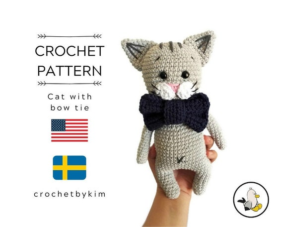 CROCHET PATTERN - little cat with a bow tie - amigurumi cat - crochet cat - kitty pattern - stuffed animal pattern - amigurumi kitten toy