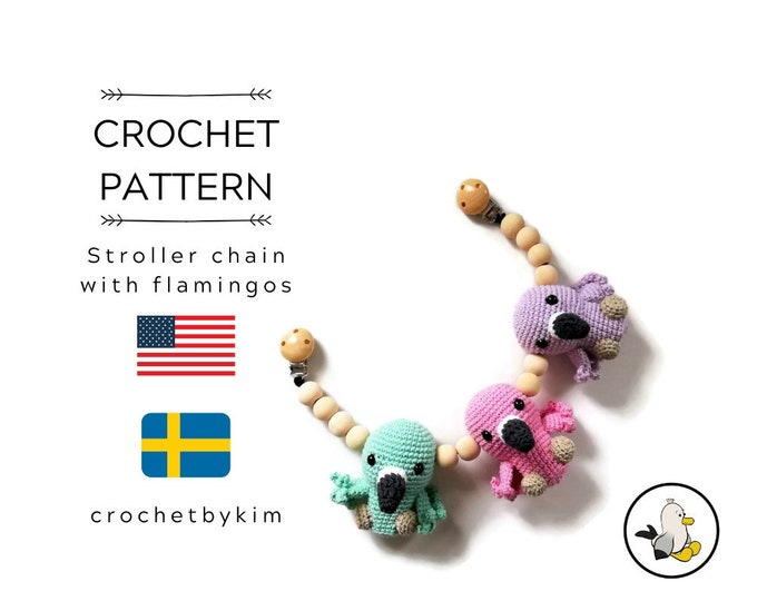 CROCHET PATTERN - Stroller chain Flamingo