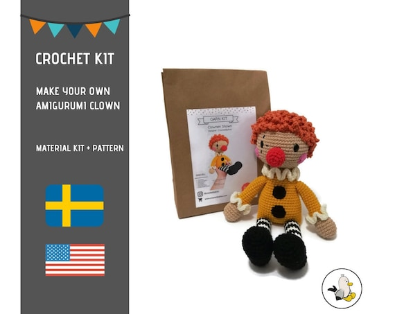 AMIGURUMI CROCHET KIT • Shawn the Clown • diy material kit • amigurumi pattern • subcription box • amigurumi crochet box •