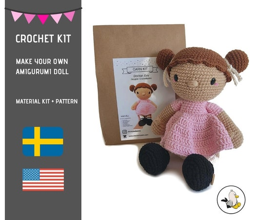 AMIGURUMI CROCHET KIT • Evy the doll • diy material kit • amigurumi pattern • subcription box • amigurumi crochet box • Doll pattern