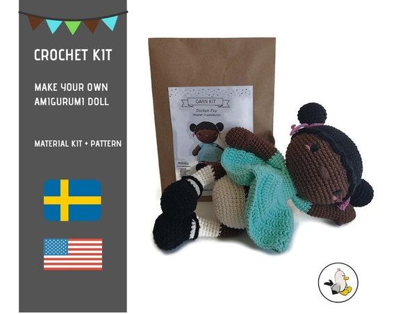 AMIGURUMI CROCHET KIT • Evy the doll • diy material kit • amigurumi pattern • subcription box • amigurumi crochet box • Doll pattern