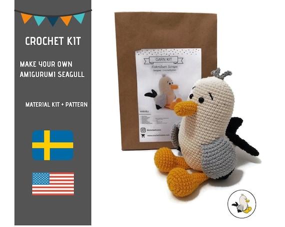 AMIGURUMI CROCHET KIT • Amigurumi Seagull • diy material kit • amigurumi pattern • subcription box • amigurumi crochet box •