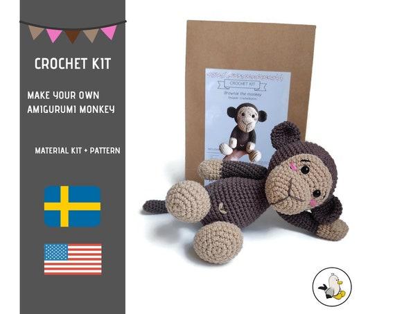 AMIGURUMI CROCHET KIT • Amigurumi Monkey • diy material kit • amigurumi pattern • subcription box • amigurumi crochet box • CrochetByKim