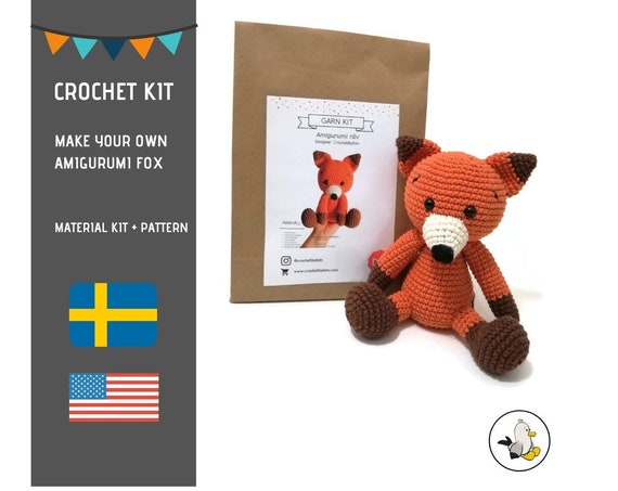 AMIGURUMI CROCHET KIT • Amigurumi Fox • diy material kit • amigurumi pattern • subcription box • amigurumi crochet box •