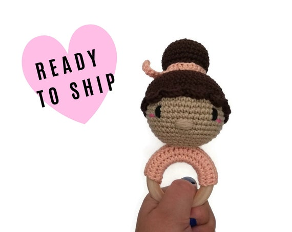 Handmade crochet doll teether • amigurumi doll rattle • teethering • baby teething ring • natural baby toy • rassel • READY TO SHIP