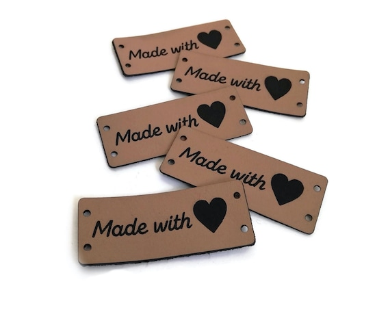 Made with love Tags • 5 pcs • Leather Look Labels • Leather tags for handmade items • Tags for crochet • knitting labels • Amigurumi