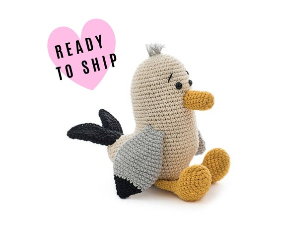 Stuffed seagull • Handmade crochet seagull • amigurumi seagull bird • plush bird • soft toy • swedish design • CrochetByKim
