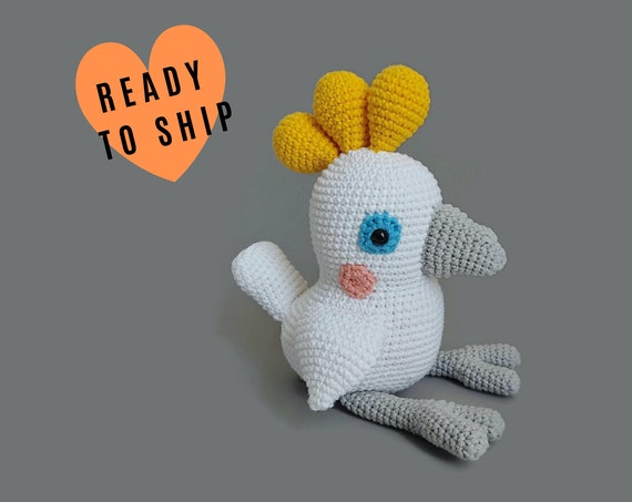 Handmade Crochet Cockatoo Bird • Australian Parrot • Aussie animal • Plush parrot • CrochetByKim • READY TO SHIP