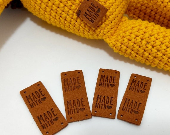 Made with love Tags • 4 pcs • Sewing Labels • Tags for handmade items • Tags for crochet and sewing hats • knitting labels • Amigurumi