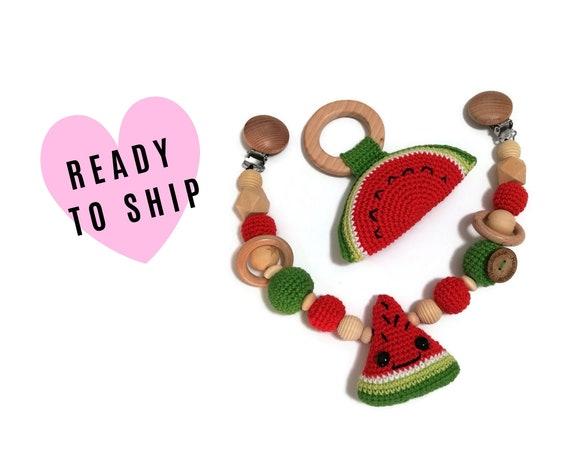 Handmade Stroller Chain + Rattle Giftset • watermelon fruit • teether • amigurumi • crochet pram garland • kinderwagenkette • wagenspanner