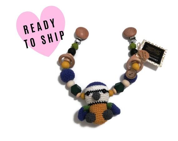 STROLLER CHAIN • amigurumi bluetit • tomtit bird • crochet pram garland • kinderwagenkette • wagenspanner • Ready To Ship