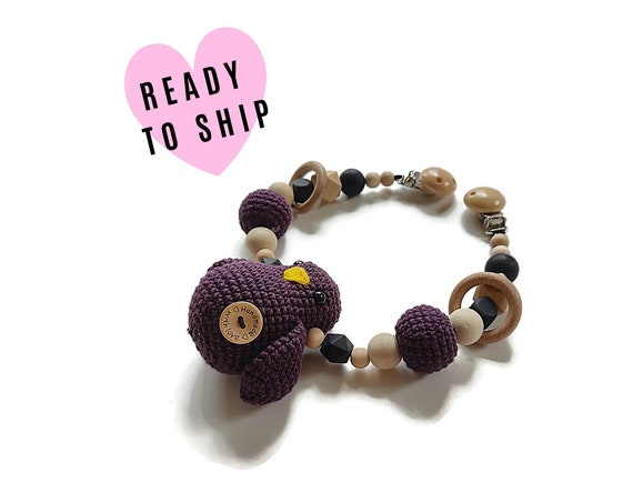 STROLLER CHAIN • purple bird • woodland animals • amigurumi • crochet pram garland • kinderwagenkette • wagenspanner • Ready To Ship