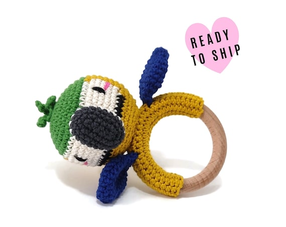 Handmade Crochet Blue and gold macaw Rattle • wooden ring • stuffed • boho wooden teething toy • Parrot ara Teether • READY TO SHIP