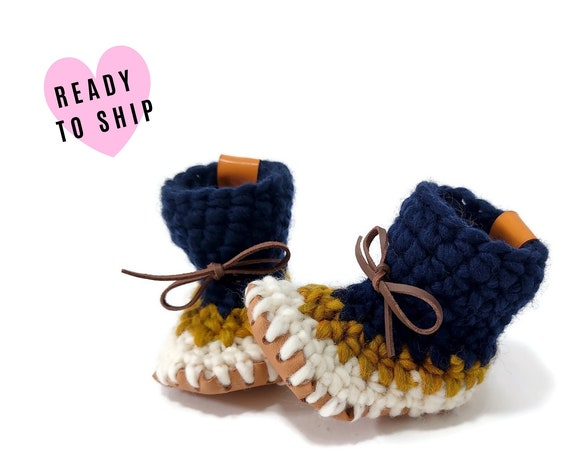 Baby Wool Padraigs • Gender Neutral Booties • Mini Mukluks • Crib shoes • Handmade Baby Slippers • Made in Sweden • CrochetByKim