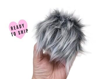 Handmade Faux Fur Pom Pom  • Grey Frost Ape  •  Luxury Faux Fur •  Tie on Poms • Removable pom pom •  Fluffy Pom pom For Beanies