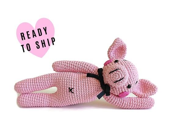 HANDMADE CROCHET PIG • hog • piglet • amigurumi farm animal • stuffed pig • CrochetByKim • Pink animal • Ready to ship