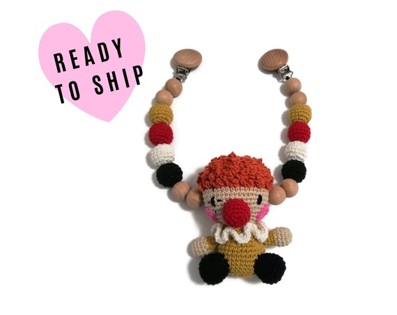 STROLLER CHAIN • Amigurumi Clown • Circus • crochet pram garland • kinderwagenkette • wagenspanner • Ready To Ship