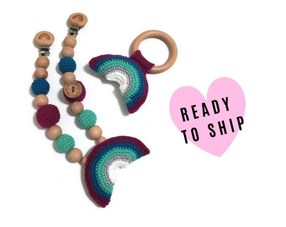 Handmade Stroller Chain + Rattle Giftset • rainbow • teether • amigurumi • crochet pram garland • kinderwagenkette • wagenspanner