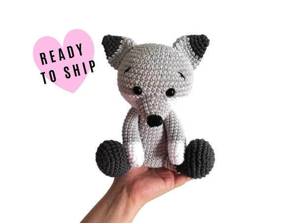 Crochet wolf - Handmade toy - Woodland animals - Stuffed wolf - plush animal - Nursery decor - Amigurumi - forest wolf - READY TO SHIP