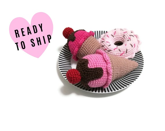 Crochet Amigurumi Playfood 3 PCS • Ice Cream cone • Cupcake • Donut • Pretend food • Crochet sweets • Ready To Ship