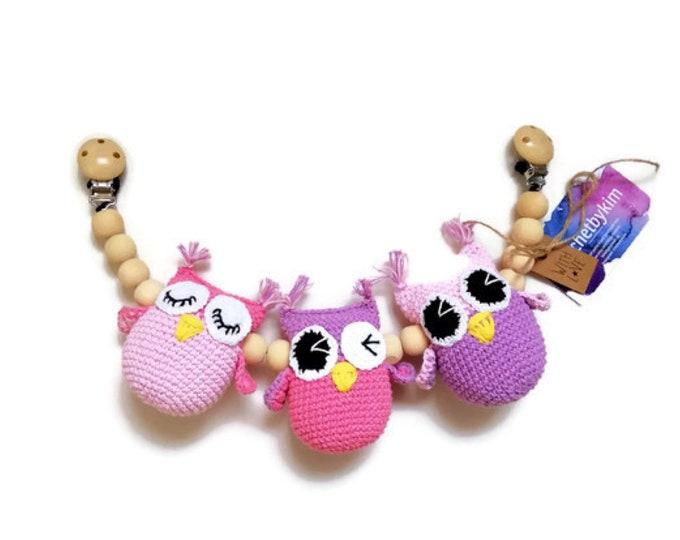 READY TO SHIP - crochet stroller chain - pram mobile - garland - baby toy - toddler - owl - birds - wooden beads
