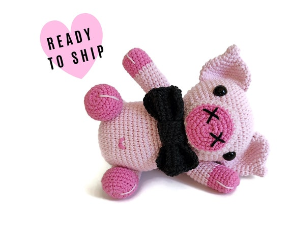 HANDMADE CROCHET PIG • Squealer • hog • piglet • amigurumi farm animal • stuffed pig • CrochetByKim • Pink animal • Ready to ship