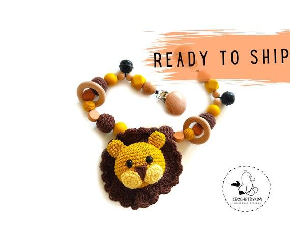 STROLLER CHAIN • amigurumi lion • safari animals • mustard yellow • crochet pram garland • kinderwagenkette • wagenspanner • Ready To Ship