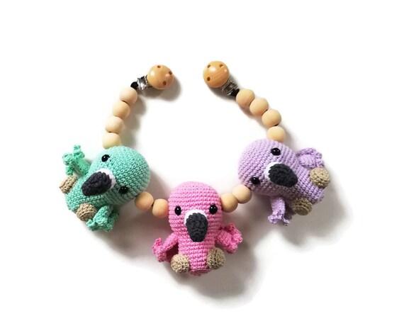 Handmade crochet stroller chain flamingo - stroller toy birds - pram mobile - garland - baby toy - wooden beads - READY TO SHIP