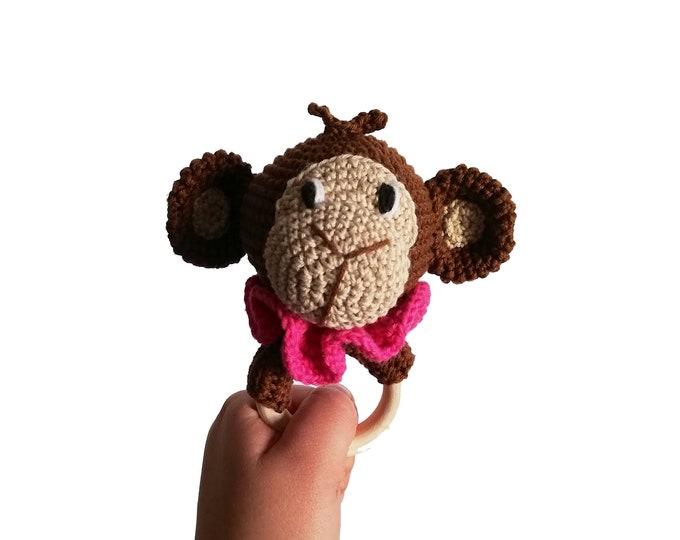 Handmade crochet monkey teether - amigurumi safari animals - jungle - teething - wooden ring - monkey rattle