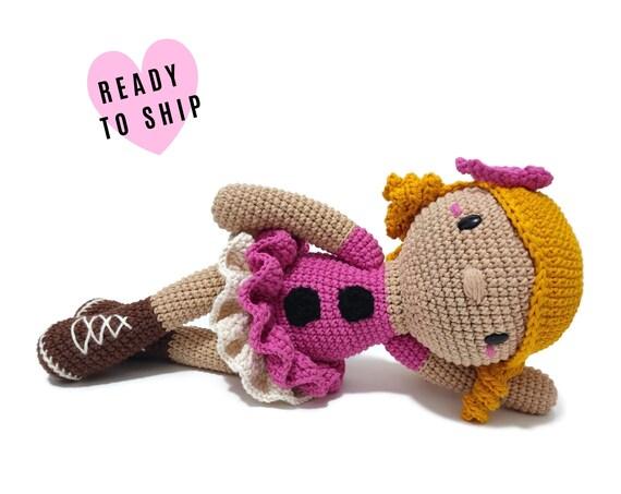 Handmade Crochet Blonde Doll FREJA • amigurumi doll • handmade doll • gift for girl • interior doll • dress and shoes • stuffed doll