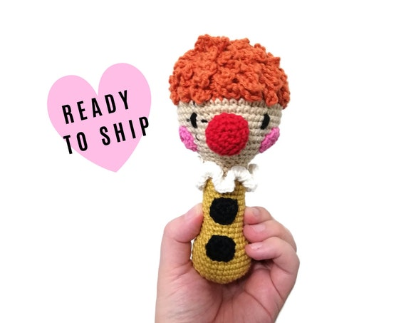 Handmade crochet clown rattle handle • amigurumi doll toy • teethering • baby teething ring • natural baby toy • rassel • READY TO SHIP