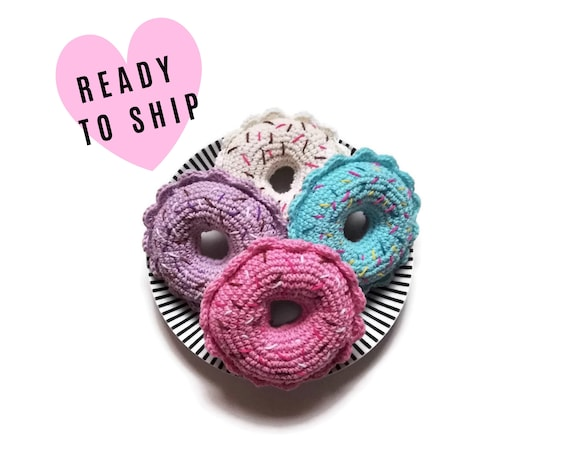 Crochet amigurumi donut - Crochet food - Educational toys - Pretend food - Kids party - playfood - Crochet sweets - READY TO SHIP