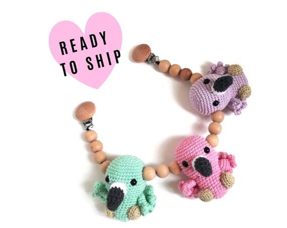 Handmade Crochet Stroller Chain Flamingo • stroller toy birds • Kinderwagenkette • Wagenspanner • Amigurumi Flamingo • READY TO SHIP