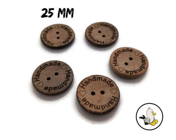 HANDMADE Buttons 25 mm • Coconut Shell • Handmade label buttons • round flatbacks • Suppliers For DIY • engraved buttons