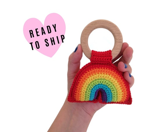 Handmade Crochet Rainbow Teether • wooden ring • stuffed • boho wooden teething toy • Rainbow Rattle • READY TO SHIP