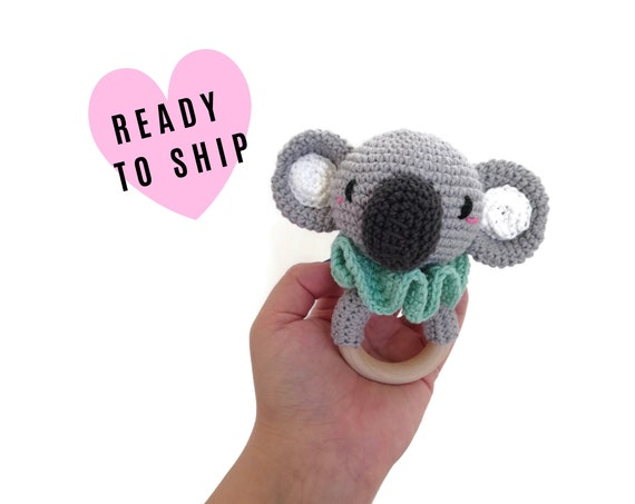 Handmade crochet koala teether • amigurumi koala rattle • teethering • baby teething ring • natural baby toy • rassel • READY TO SHIP