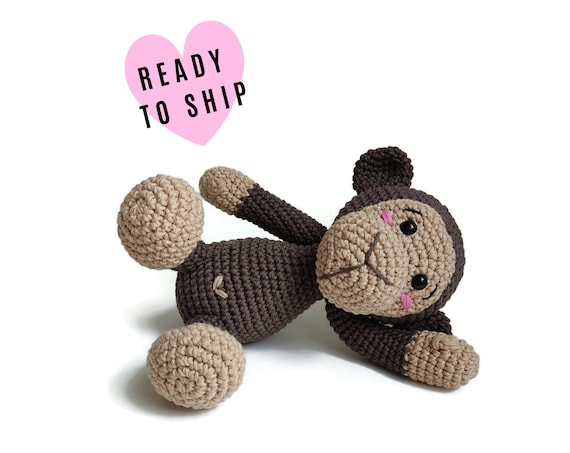HANDMADE CROCHET MONKEY • Brownie the monkey • Amigurumi jungle animals • Zoo • Stuffed animal • Soft toy • Plush monkey • Ready to ship