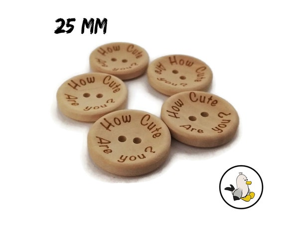 How cute are you Buttons 25 mm • wooden beads • Handmade label buttons • round flatbacks • Suppliers For DIY • engraved buttons