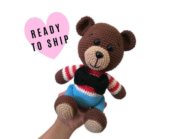 Handmade crochet teddy bear • Amigurumi Teddy Bear • stuffed animal • Classic Teddy bear • Bear doll • CrochetByKim • READY TO SHIP