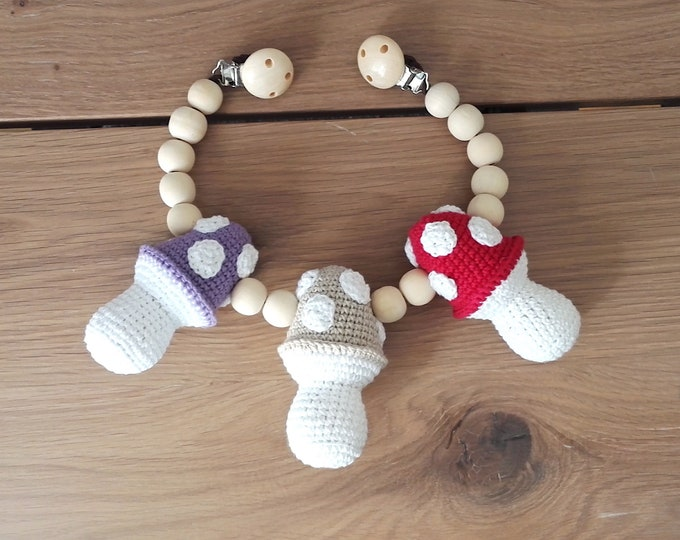 READY TO SHIP - crochet stroller chain - pram mobile - garland - baby toy - toddler - fly agaric - amanita - wooden beads