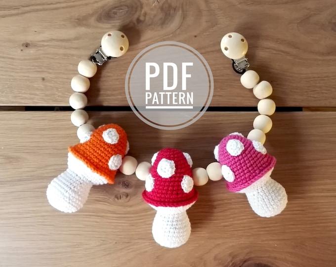 CROCHET PATTERN - stroller chain  - fly agaric - amanita - stroller mobile - pram chain - baby toy - garland - pdf