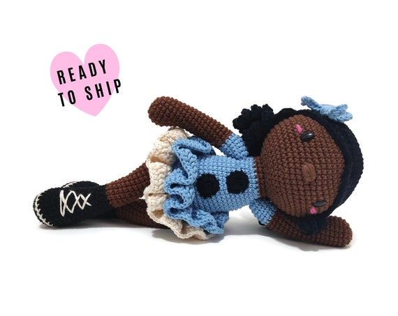 Handmade crochet afro american doll FREJA • amigurumi doll • Brown skin doll • Black skin doll • Black rag doll • stuffed doll