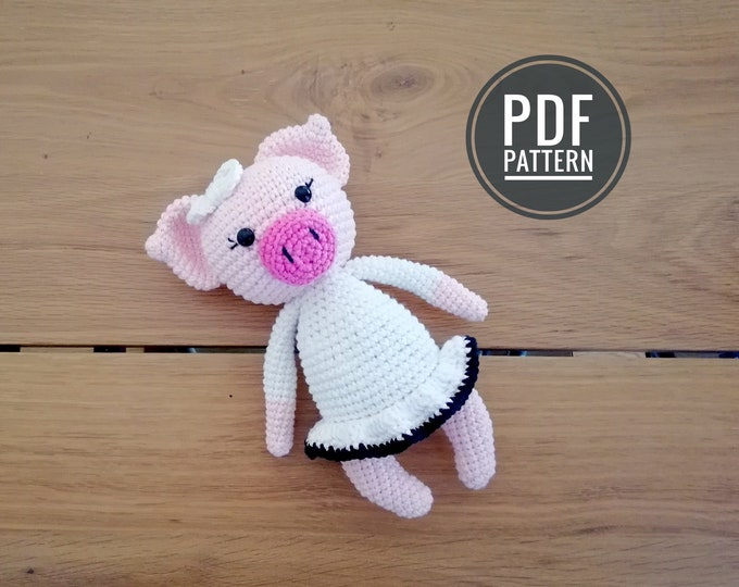 CROCHET PATTERN - little pig with a dress - amigurumi piggy - crochet pig - pig pattern - stuffed animal pattern - amigurumi pig toy