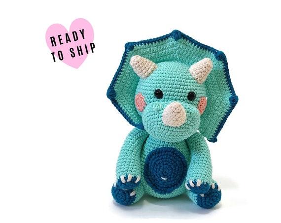 HANDMADE CROCHET Triceratops •  Amigurumi dinosaur • Jurassic World • Stuffed animal • Soft toy Dino • CrochetByKim • Ready to ship