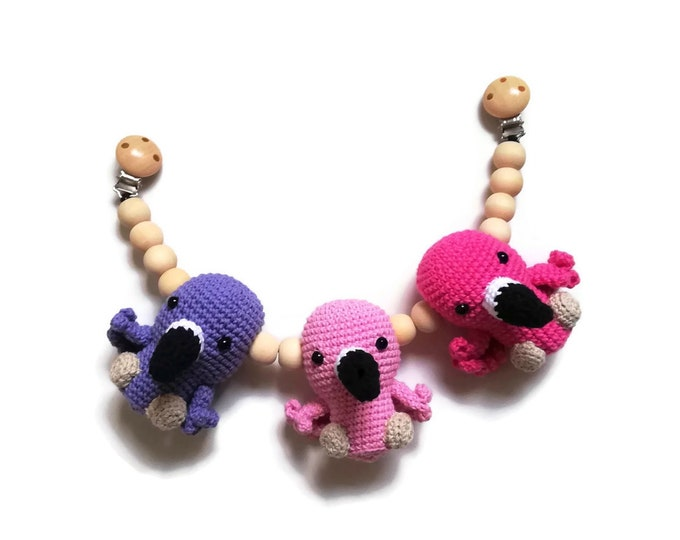 crochet stroller chain flamingo - stroller toy birds - pram mobile - garland - baby toy - toddler - wooden beads - READY TO SHIP