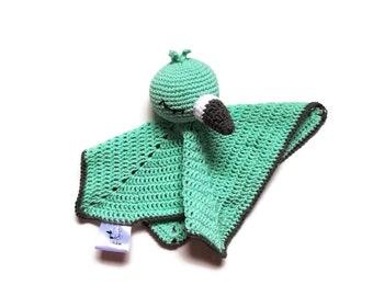 Crochet security blanket - flamingo bird - lovey - toddler toy - snuggle - newborn - safety blanket - woodland - baby toy