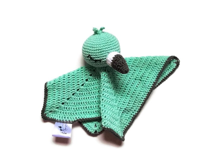 Crochet security blanket - flamingo bird - lovey - toddler toy - snuggle - newborn - safety blanket - woodland - baby toy